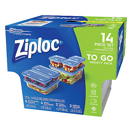 Ziploc® Plastic Food Storage Container Set, Clear, Pack Of 7