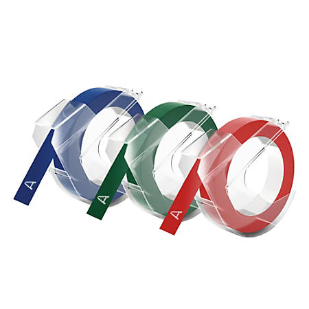 """DYMO® 3D Embossing Labels, 3/8"""" x 9 4/5"""", Assorted Glossy Colors, Pack Of 3 Rolls"""