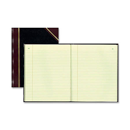 """Rediform Black Texhide Cover Record Books - 150 Sheet(s) - Thread Sewn - 8 3/8"""" x 10 3/8"""" Sheet Size - Green Sheet(s) - Brown, Green Print Color - Black Cover - Recycled - 1 Each"""