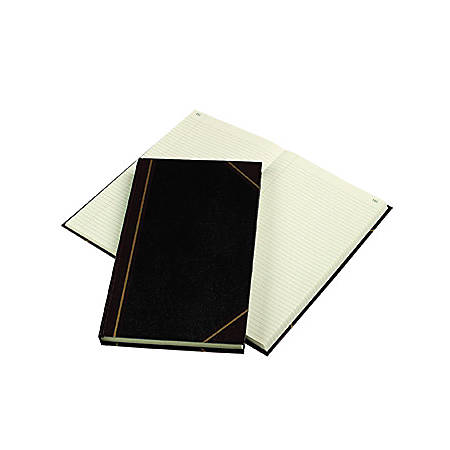 "Rediform Texhide Cover Record Books with Margin - 300 Sheet(s) - Thread Sewn - 8 3/4"" x 14 1/4"" Sheet Size - Green Sheet(s) - Brown, Green Print Color - Black Cover - Recycled - 1 Each"