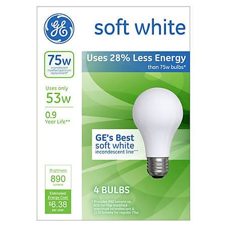 GE A19 Energy-Efficient Soft White Light Bulbs, 53 Watts, Pack Of 4
