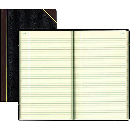 "Rediform Texhide Cover Record Books with Margin - 500 Sheet(s) - Thread Sewn - 8 3/4"" x 14 1/4"" Sheet Size - Green Sheet(s) - Black Cover - Recycled - 1 Each"