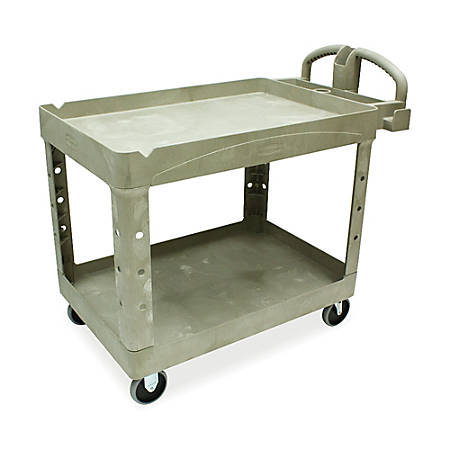 "Rubbermaid Two-Tiered Full-Service Cart, 33 1/4""H x 45 1/4""W x 25 3/4""D, Beige"