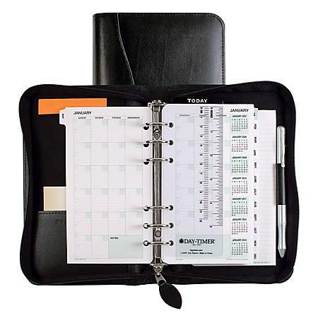 """Day-Timer® Bonded Leather Binder And Starter Set, 3 3/4"""" x 6 3/4"""", Black"""