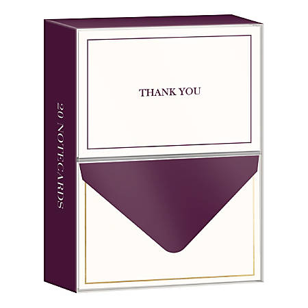 "Lady Jayne Professional Thank You Cards With Envelopes, 3-1/2"" x 5"", Purple, Pack Of 20 Cards"
