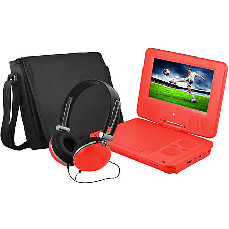 "Ematic EPD707 Portable DVD Player - 7"" Display - 480 x 234 - Red - DVD-R, CD-R - JPEG - DVD Video, Video CD, MPEG-4 - CD-DA, MP3 - 1 x Headphone Port(s) - Lithium Polymer (Li-Polymer) - 2 Hour"