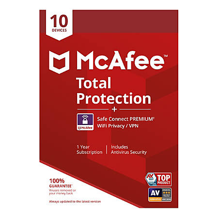 McAfee® Total Protection, For PC, Apple® Mac®, iOS, or Android, 10 Devices, 1-year subscription, eCard