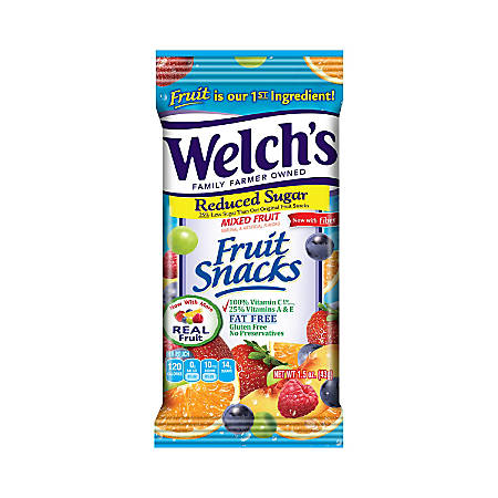 Welch's Reduced-Sugar Mixed Fruit Snacks, Pack Of 144
