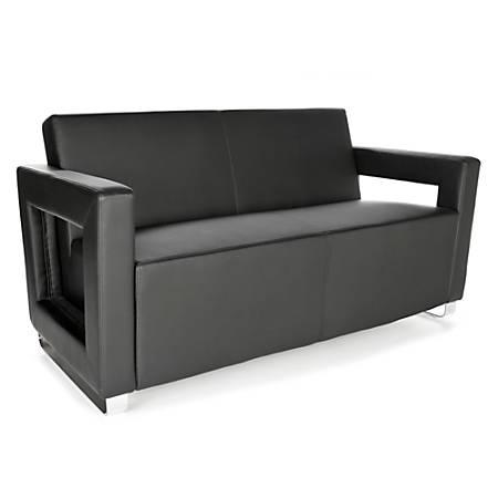 OFM Distinct Series Soft Seating Sofa, Black/Chrome