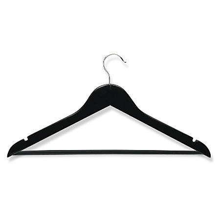 Honey-Can-Do Wood Hangers, Curved Wide-Shoulder Suit, Ebony, Pack Of 8