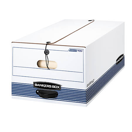"""Bankers Box® Stor/File™ 60% Recycled Storage Boxes, String & Button, 24"""" x 15"""" x 10"""", Legal, White/Blue, Pack Of 3"""