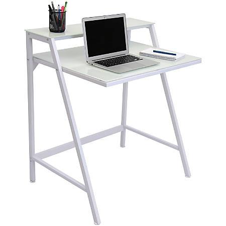 Lumisource 2-Tier Computer Desk, White