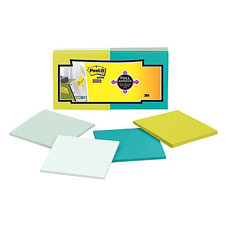 "Post-it® Super Sticky Full Stick Notes, 3"" x 3"", Bora Bora Color Collection, 25 Sheets Per Pad, Pack Of 12 Pads"