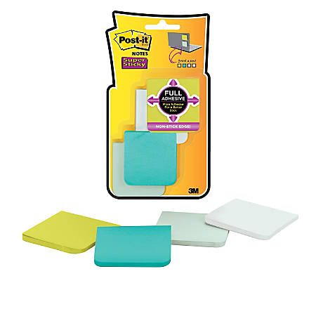 """Post-it® Notes Super Sticky Full Stick Notes, 2"""" x 2"""", Bora Bora, Pack Of 8 Pads"""