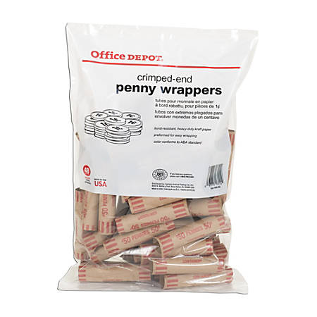 Office Depot® Brand Preformed Tubular Coin Wrappers, Penny, Pack Of 48