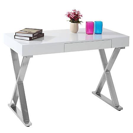 Lumisource Luster Computer Desk, Silver/White