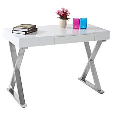 Lumisource Luster Computer Desk SilverWhite