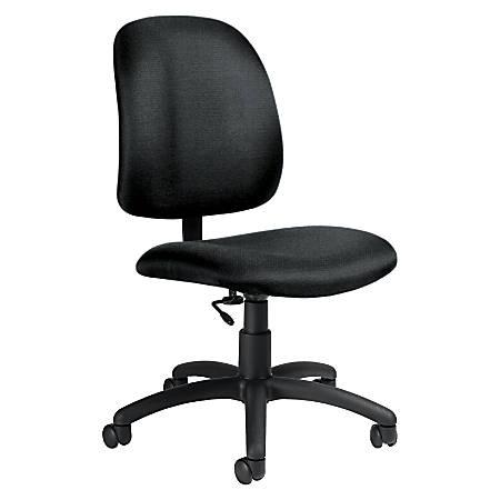 "Global® Goal™ Armless Task Chair, 39""H x 20 1/2""W x 24 1/2""D, Black Frame, Gray Fabric"