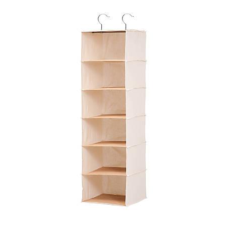 """Honey-Can-Do Hanging Vertical Canvas Closet Organizer, 6 Shelves, 42""""H x 12""""W x 11 1/2""""D, Green/Natural Bamboo"""
