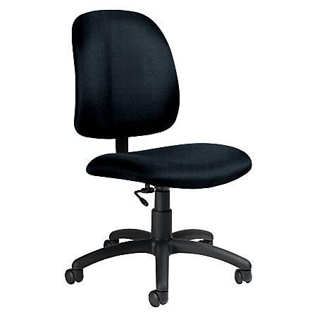 "Global® Goal™ Armless Task Chair, 39""H x 20 1/2""W x 24 1/2""D, Black Frame, Blue Fabric"