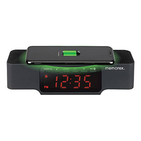 "Memorex® Digital Clock Radio With Wireless Charging, 2-1/16""H x 2-3/8""W x 7-3/4""D, Black"