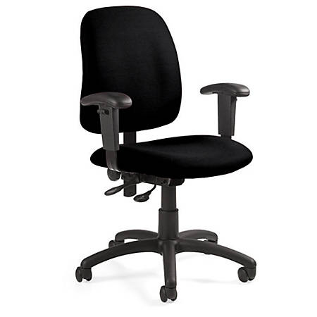 "Global® Goal™ Operator Series Task Chair, 36""H x 25""W x 22 1/2""D, Black Frame, Asphalt Fabric"