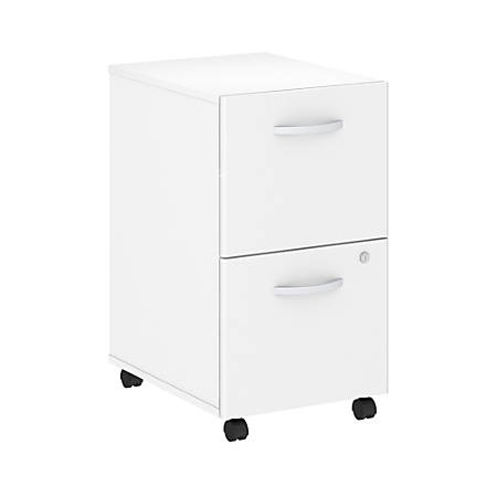 Bush Business Furniture Studio C 2 Drawer Mobile File Cabinet, White, Premium Installation