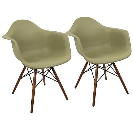 LumiSource Neo Flair Mid-Century Modern Chairs, Olive/Espresso, Set Of 2