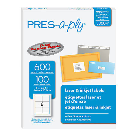 """PRES-a-ply Labels for Laser and Inkjet Printers, AVE30604, Permanent Adhesive, 3 1/3""""W x 4""""L, Rectangle, White, Box Of 600"""