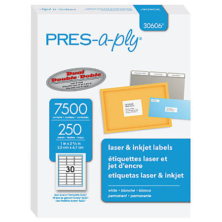 "PRES-a-ply™ Labels for Laser and Inkjet Printers, AVE30606, Permanent Adhesive, 1""W x 2 5/8""L, Rectangle, White, Box Of 7,500"