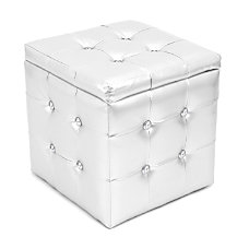 Lumisource Pouf Ottoman Square Silver