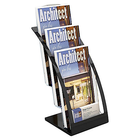 """Deflecto® Contemporary Literature Holder, 3 Leaflet Size Compartments, 13 5/16""""H x 6 13/16""""W x 6 15/16""""D, Black/Clear"""