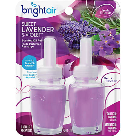 Bright Air Sweet Lavender/Violet Oil Warmer Refill - Oil - Lavender, Violet - 45 Day - 2 / Pack - Paraben-free, Phthalate-free, BHT Free