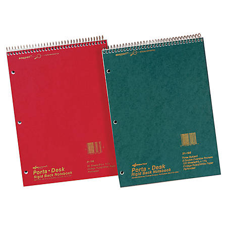 """National® Brand Porta-Desk Notebook, 8 1/2"""" x 11"""", 3 Subjects, College Ruled, 120 Sheets"""