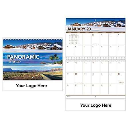 "Panoramic Memo 13-Month Spiral Wall Calendar, 10 3/8"" x 10"""