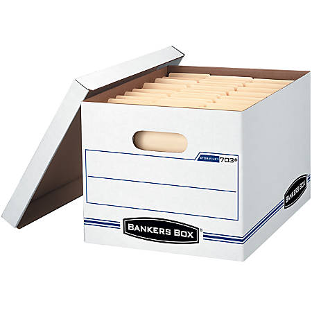 """Bankers Box® Stor/File™ Storage Boxes, 60% Recycled Content, Letter/Legal, 15"""" x 12"""" x 10"""", White/Blue, Pack of 5"""