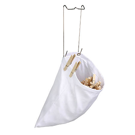 """Honey-Can-Do Hanging Clothespin Bags, 11"""" x 10"""", White, Pack Of 2"""