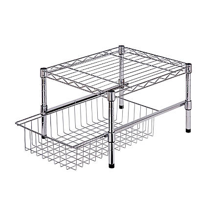 "Honey-Can-Do Adjustable Cabinet Organizer With Shelf And Basket, 11""H x 14 3/4""W x 17 3/4""D, Chrome"