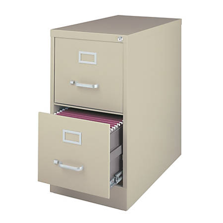 """WorkPro® 26 1/2""""D 2-Drawer Letter-Size Vertical File Cabinet, Putty"""