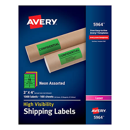 """Avery® High-Visibility Shipping Labels, AVE5964, 2"""" x 4"""", Assorted Colors, Box Of 1000"""