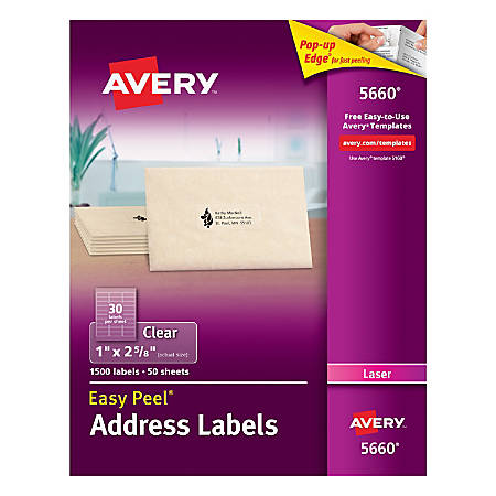 Avery easy peel permanent laser address labels 5660 1 x 2 58 clear avery easy peel permanent laser address maxwellsz