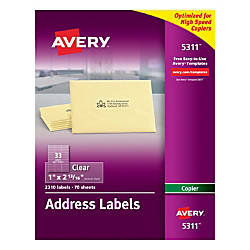 Avery Permanent Clear Copier Address Labels