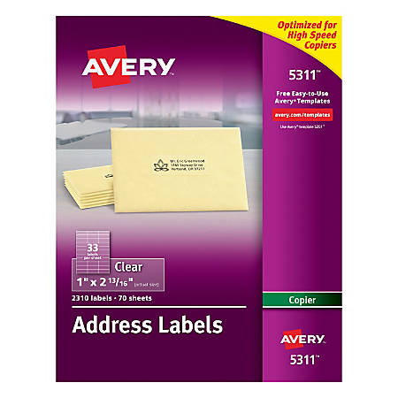 "Avery® Permanent Clear Copier Address Labels, 5311, 1"" x 2 13/16"", Pack Of 2,310"