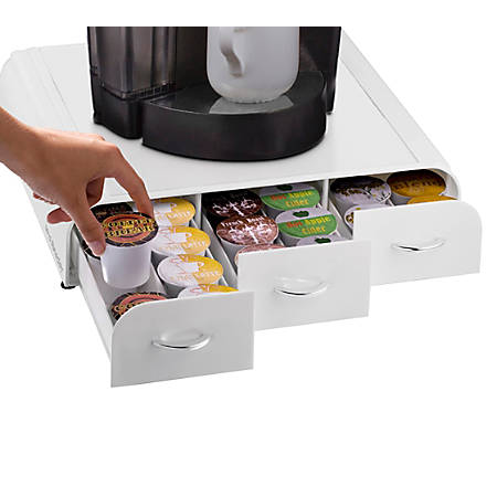 Mind Reader Anchor Coffee Pod Triple Drawer, 36-Pod Capacity, White