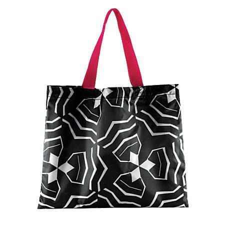 """2-Piece Polyester Tote Set, 18""""H x 15""""W x 1""""D, Black/White"""