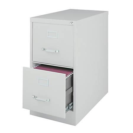 "WorkPro® 26 1/2""D 2-Drawer Letter-Size Metal Vertical File Cabinet, Light Gray"