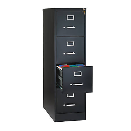 "WorkPro® Metal Letter-Size Vertical File Cabinet, 4 Drawers, 26-1/2""D, Black"