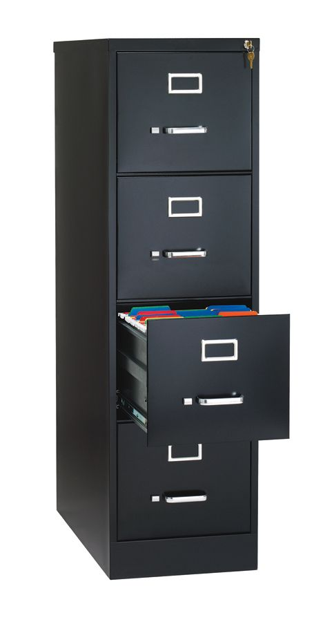 WorkPro 26 12 D 4 Drawer Letter Size Vertical File Cabinet Black By Office  Depot U0026 OfficeMax