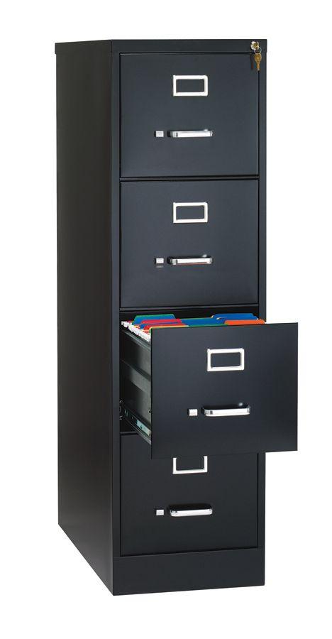 Bon WorkPro 26 12 D 4 Drawer Letter Size Vertical File Cabinet Black By Office  Depot U0026 OfficeMax