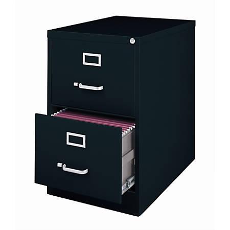 """WorkPro® 26 1/2""""D 2-Drawer Legal-Size Metal Vertical File Cabinet, Black"""